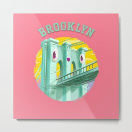 Happy Brooklyn Bridge Metal Print