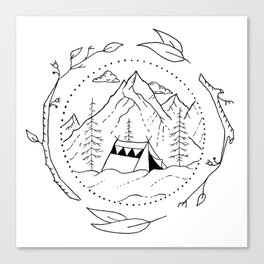 Tent in Snowy Mountainside Encircled by Tree Branches Canvas Print