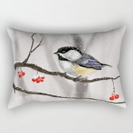 Winter Chickadee Rectangular Pillow