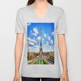 Paris Eiffel Tower Unisex V-Neck