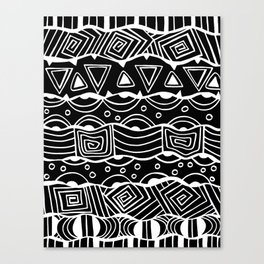 Wavy Tribal Lines with Shapes - White on Black - Doodle Drawing Canvas Print