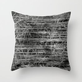 Modern Black and White Etching Abstract Lines Throw Pillow
