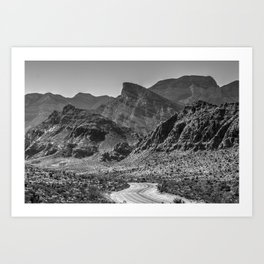 Canyon Road Black and White Art Print