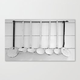 Vintage Spoons and Ladles in Black and White Canvas Print