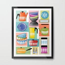 Colorful Cathrineholm Kitchen Geometric Print Metal Print