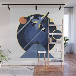 Spacecraft, spaceship in space, planet and pyramid, star war Wall Mural