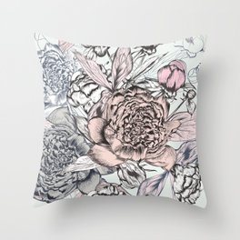 Fashion vector pattern with hand drawn peony flowers Throw Pillow