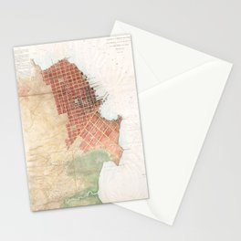 Vintage Map of San Francisco CA (1853) Stationery Cards