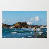 puerto rico Area & Throw Rugs featuring Pescador en Villa Pesquera, Isabela, Puerto Rico by Silmagerie