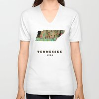 tennessee V-neck T-shirts featuring Tennessee state map modern by bri.buckley