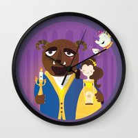 beauty and the beast Wall Clocks featuring Beauty and beast by Maria Jose Da Luz