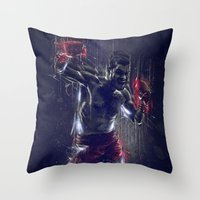 boxing Throw Pillows featuring DARK BOXING by Ptitecao