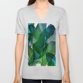 Palm leaf jungle Bali banana palm frond greens Unisex V-Neck