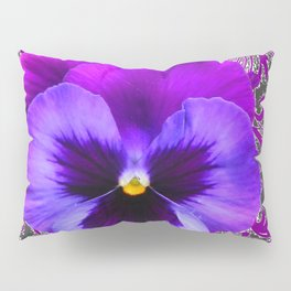 SPRING PURPLE PANSY FLOWER &  DELICATE PATTERN Pillow Sham