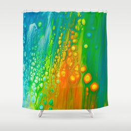 Aqua orange Shower Curtain