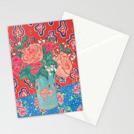 Roses in Enamel Flamingo Vase Stationery Cards