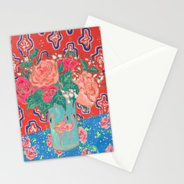 Roses in Enamel Flamingo Vase Stationery Cards