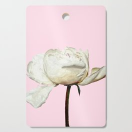 White Peony Pink Background Cutting Board