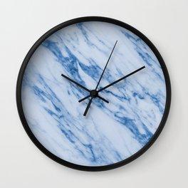 Azure Blue Marble on Marshmallow Cream Wall Clock