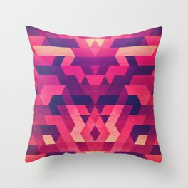 Abstract symmetric geometric triangle texture pattern design in diabolic future red Throw Pillow
