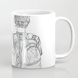 Geometric Japanese Black and White Linework Love couple Coffee Mug