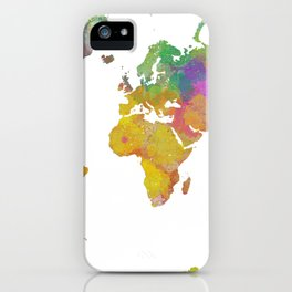 Map of the World - Watercolor 5 iPhone Case