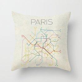 Minimal Paris Subway Map Throw Pillow