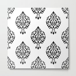 Orna Damask Pattern Black on White Metal Print