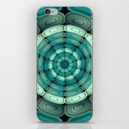 Radial dark turquoise iPhone Skin