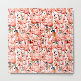 Exotic landscape of flamingos and pineapple Metal Print