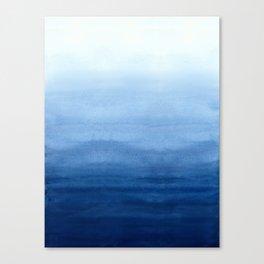 Blue Watercolor Ombré Leinwanddruck