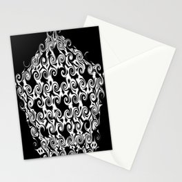 Curlicues Pentagon Black and White Pattern Stationery Cards