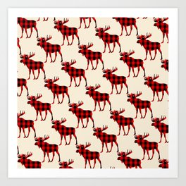 Buffalo Plaid Rustic Moose Art Print
