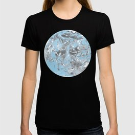 Cyan and grey Marble texture acrylic Liquid paint art T-shirt