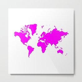 World with no Borders - magenta Metal Print