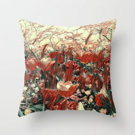 GALATHI Flower Spring is Here Red - Flowers Throw Pillow