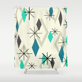 Mid Century Modern Diamonds Shower Curtain