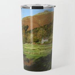 Cottage and flooded field. Grasmere, Lake District, UK. Travel Mug