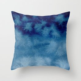 Blue Watercolor Wash Throw Pillow