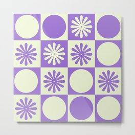 Retro Checkered Pattern  Metal Print