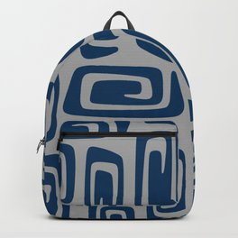Mid Century Modern Cosmic Abstract 514 Blue and Gray Backpack