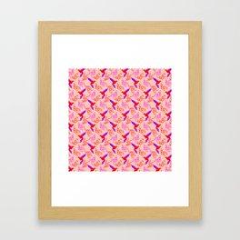 Pretty beautiful cute red hummingbirds, delicate twigs, little leaves elegant pattern. Gift ideas Framed Art Print