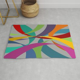 Rainbow Ribbons on Grey Rug