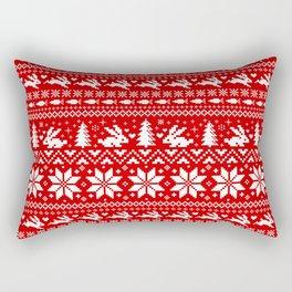 Bunnies Holiday Patterm Rectangular Pillow