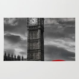 London - Big Ben with Red Bus bw red Rug