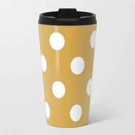 White and Mustard Polka `dots Travel Mug