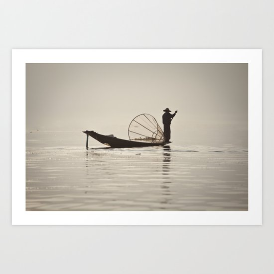 Fisherman at Inle Lake Art Print