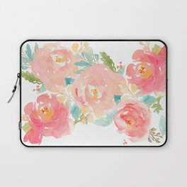 Watercolor Peonies Summer Bouquet Laptop Sleeve