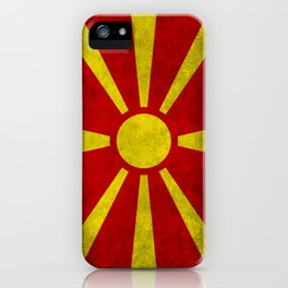 Flag of Macedonia in Super Grunge iPhone Case