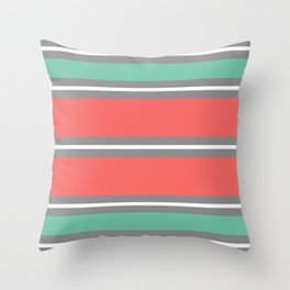 Minimal Abstract Lucite green, Coral, Grey, Honey, and White 01 Throw Pillow